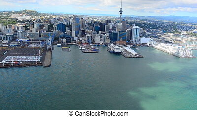 Aerial view of Auckland financial center New Zealand -...