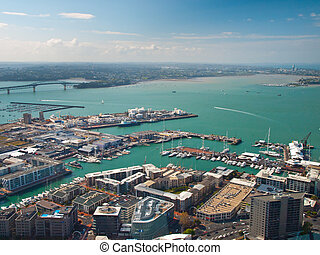 Auckland harbour - Aerial view of Auckland harbour on a...
