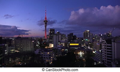 Auckland skyline at dusk - Aerial view of Auckland skyline...