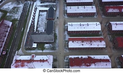 Aerial view of Auschwitz Birkenau, a concentration camp in...