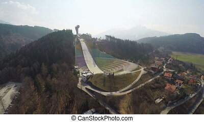 """Aerial view of Austrian Bergisel ski jump training center,..."