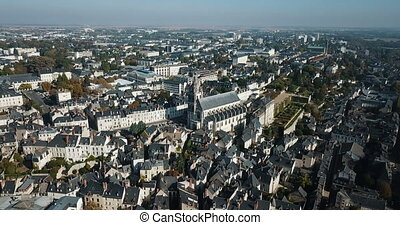 Blois cityscape with Gothic Roman Catholic cathedral of St. ...