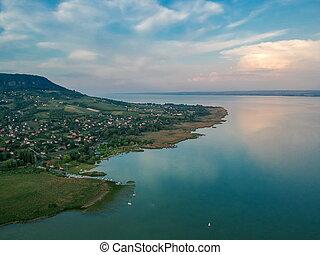 Aerial view of Badacsony hill