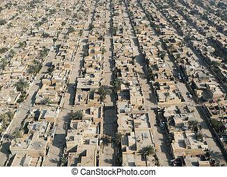 An aerial view of a west Baghdad neighborhood
