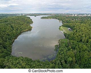 Aerial view of Bagsvaerd lake, Denmark
