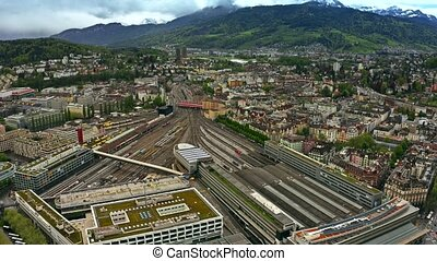 Aerial view of Bahnhof Luzern or Lucerne Main Station and...