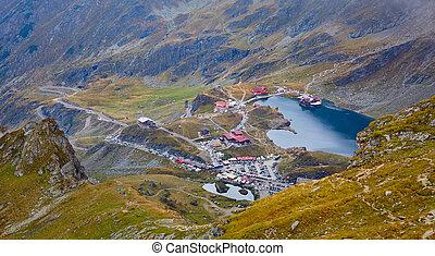 Aerial view of Balea Lake, Romania