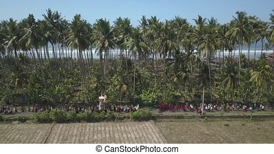 Aerial view of Balinese ceremony,Bali,Indonesia