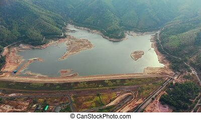 Aerial view of Ban Bang Niew Dam water Reservoir at Phuket, Thailand. High quality 4k footage