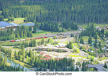 Aerial view of Banff railway station.