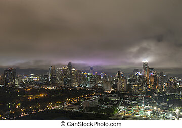 Aerial view of Bangkok city, under blue storm cloudy sky