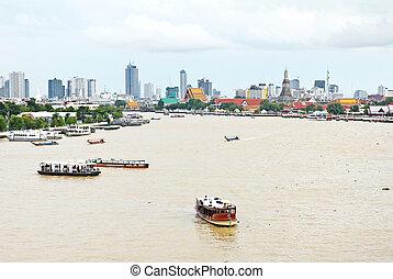 Aerial view of Bangkok city with Chao Phraya river