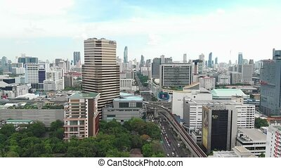 Aerial view of Bangkok streets in a daytime. Thailand.