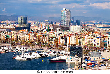 Aerial view of Barcelona city from Port