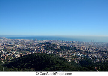 Aerial view of Barcelona city in Spain.
