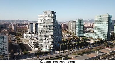 Panoramic aerial view of district of Barcelona with modern apartment buildings