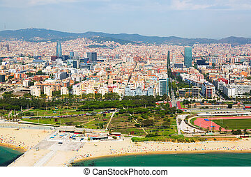 Aerial view of Barcelona from helicopter