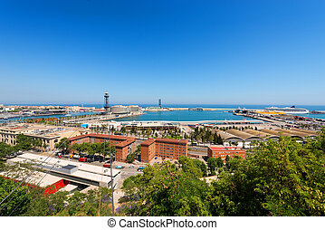 Aerial View of Barcelona Port - Spain