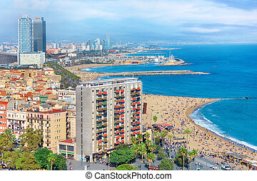 Aerial view of Barceloneta beach