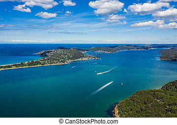 Aerial view of Barrenjoey Head and Palm Beach