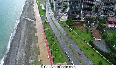 Aerial view of Batumi at rainy day 4k shot