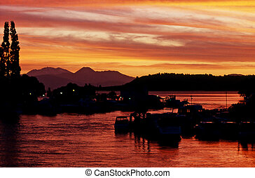 Aerial View of Bay of Islands, New Zealand - Sunset in lake ...