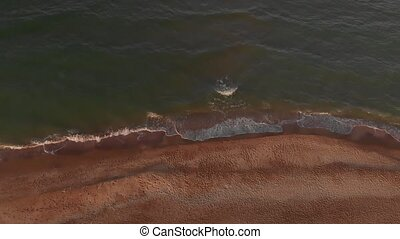 Aerial view of beach - Aerial view of coast and waves