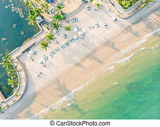 Aerial view of beach and sea
