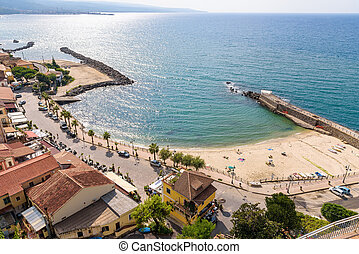 Aerial view of beach in Pizzo town