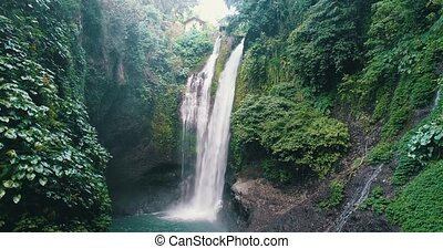 Aerial view of beautiful Aling Aling waterfall in Bali