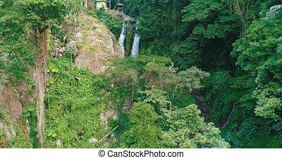 Aerial view of beautiful Aling Aling waterfall in Bali