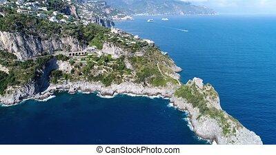 aerial view of beautiful amalfi coast at southern italy -...