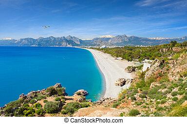 Konyaalti beach in popular resort city Antalya, Turkey