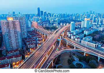 aerial view of beautiful city interchange in nightfall