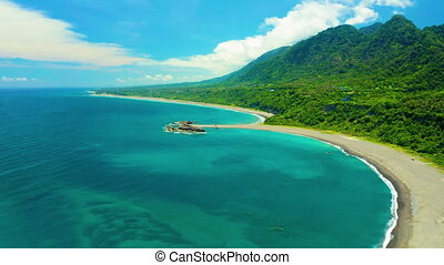 Aerial view  of Beautiful coastline and island .Taitung Country , Taiwan.