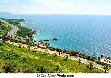 Aerial View of Beautiful Exotic Summer Coast. Travel and Vacation Concept.