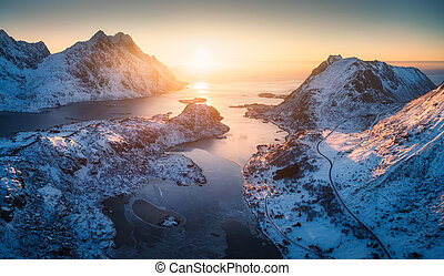 Aerial view of beautiful fjord at sunset in Lofoten Islands