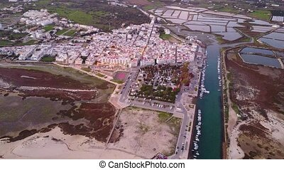 Aerial view of beautiful Fuseta in Algarve, Portugal