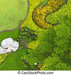 Aerial view of Beautiful green garden