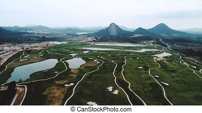 Aerial view of beautiful green landscape and carved buddha...