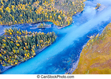 aerial view of beautiful kanas river landscape in autumn