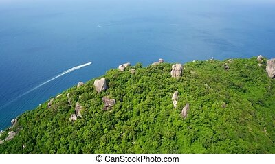 Aerial drone view of beautiful Koh Tao island in Thailand