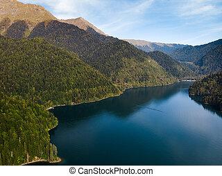 Aerial view of beautiful lake Ritsa