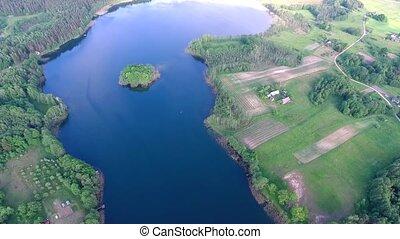 aerial view of beautiful lake - aerial view beautiful blue...