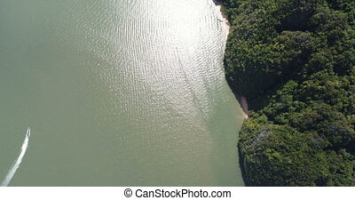 Aerial view of beautiful limestone rock formations in the...
