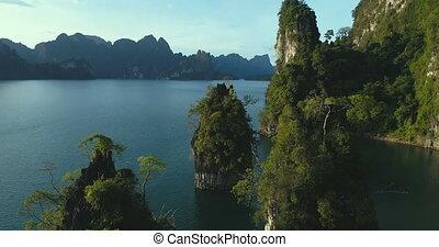 Aerial view of beautiful limestone rocks at the lake -...