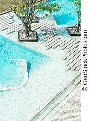 Aerial view of Beautiful luxury hotel swimming pool resort