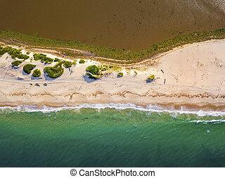 Aerial view of beautiful Macaneta Beach, north Maputo, Mozambique