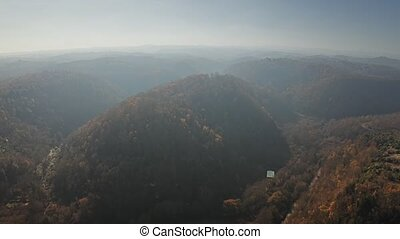 Aerial view of beautiful hilly landscape near Calcata