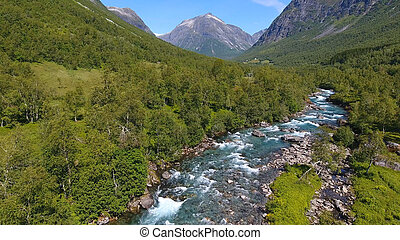 Aerial view of Beautiful mountain river near Trollstigen, Norway
